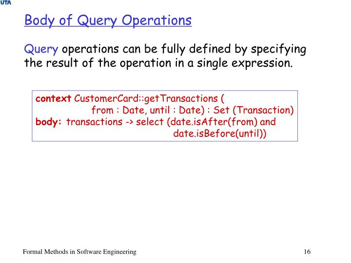 Body of Query Operations