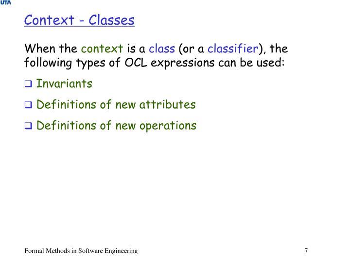Context - Classes