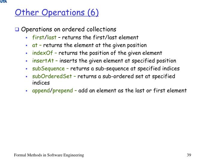 Other Operations (6)