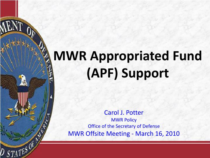 mwr appropriated fund apf support n.