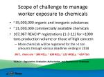 scope of challenge to manage worker exposure to chemicals