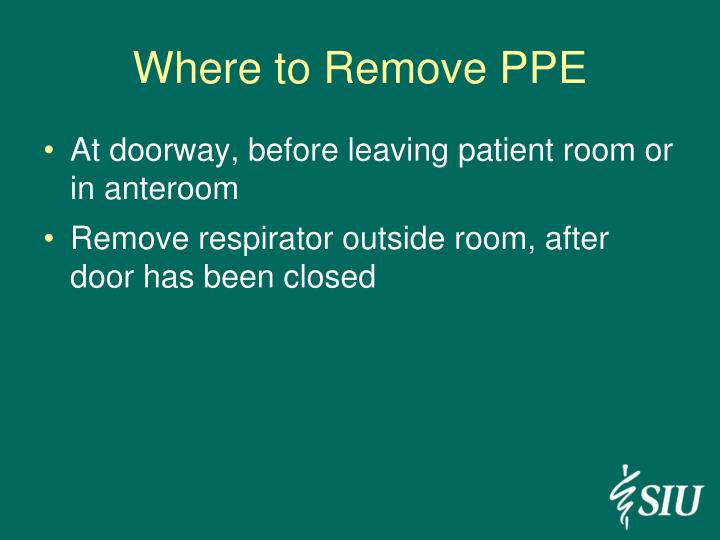 Where to Remove PPE