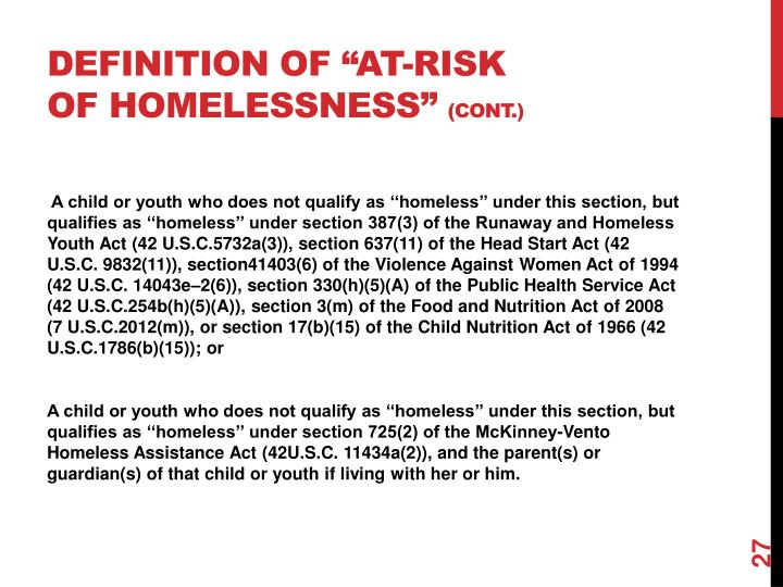 """Definition of """"at-risk of homelessness"""""""