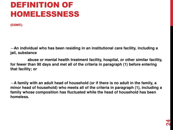 Definition of Homelessness