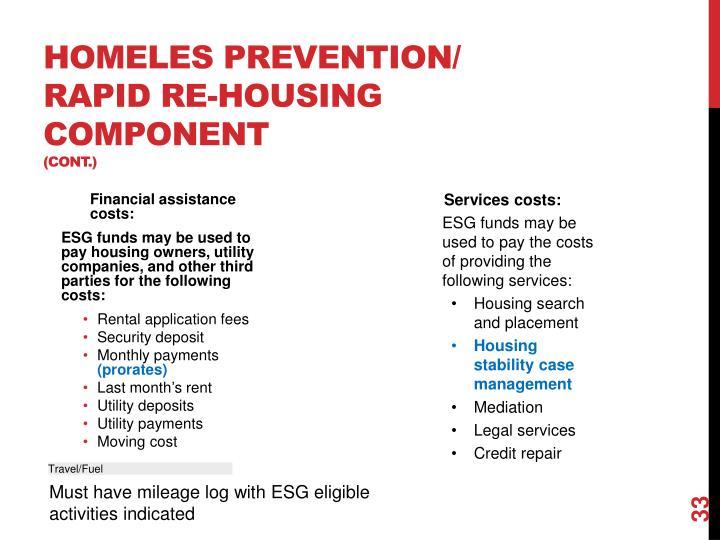 HOMELES PREVENTION/    Rapid Re-Housing