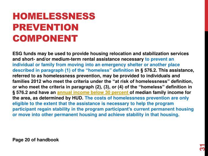 Homelessness Prevention