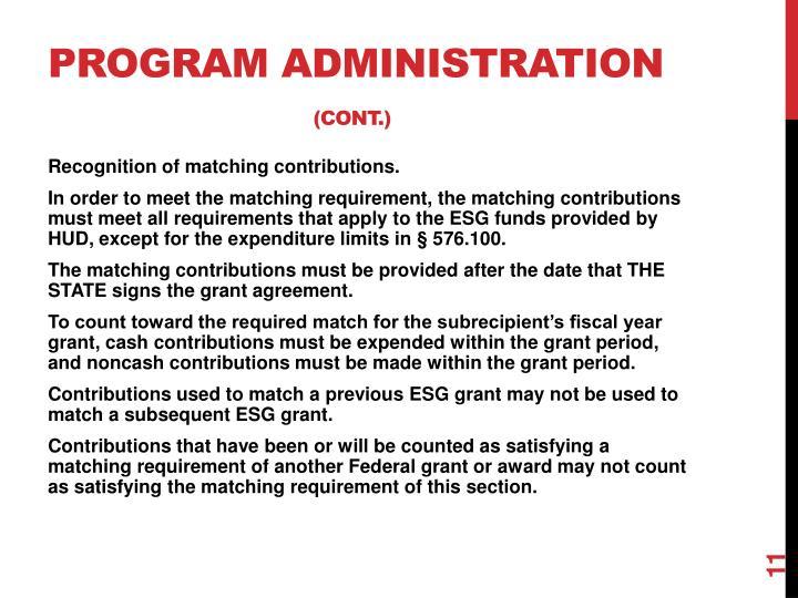 Program Administration