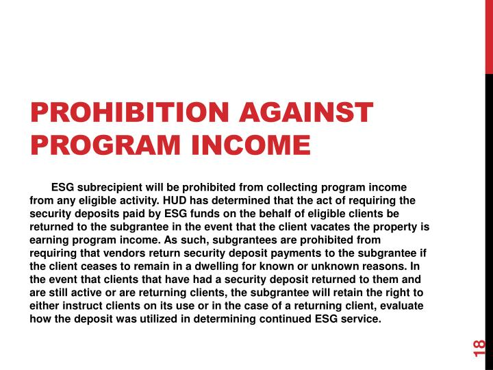 Prohibition Against Program Income