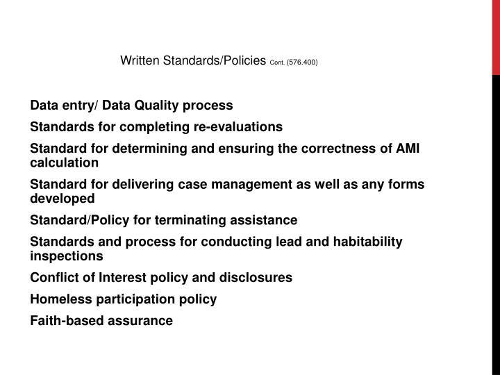 Written Standards/Policies