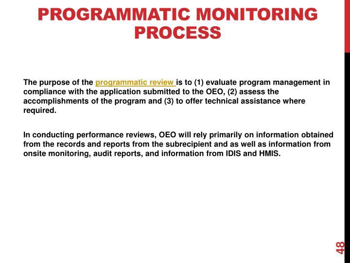 Programmatic Monitoring