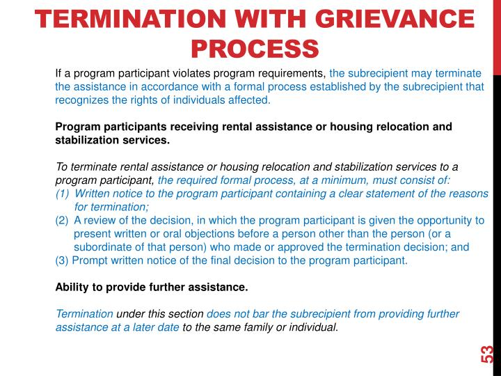 Termination with Grievance Process