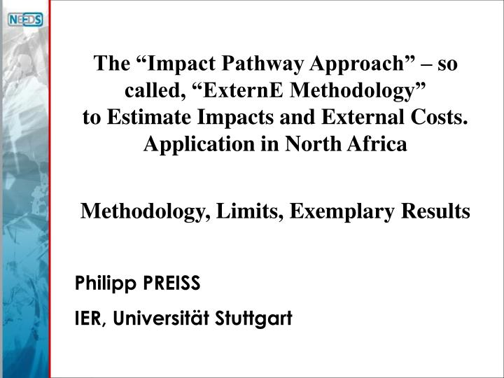 """The """"Impact Pathway Approach"""" – so called, """"ExternE Methodology"""""""