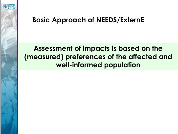Basic Approach of NEEDS/ExternE