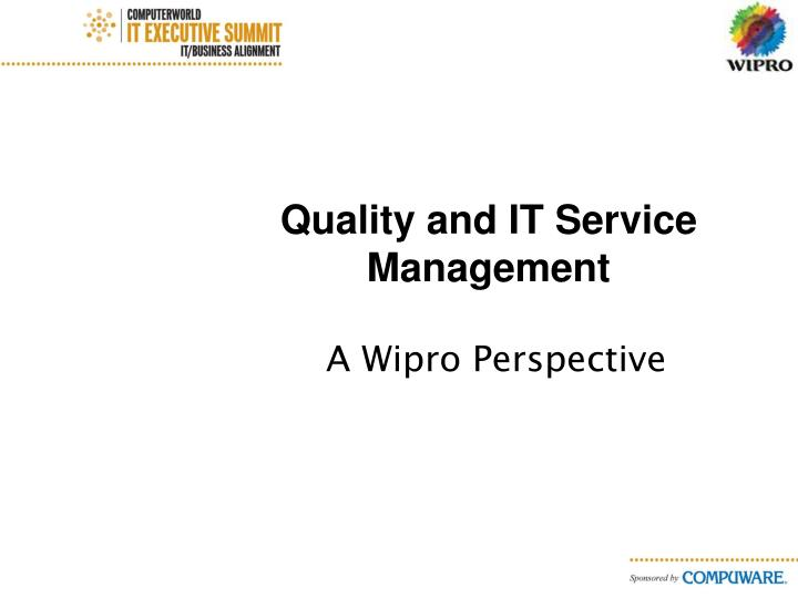 quality and it service management n.