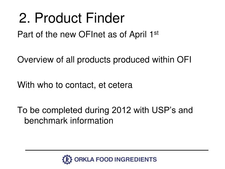 2. Product Finder