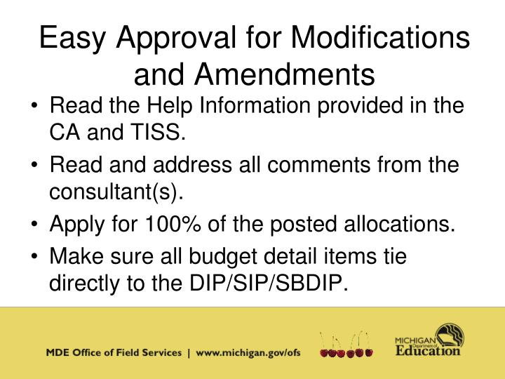 Easy Approval for Modifications and Amendments