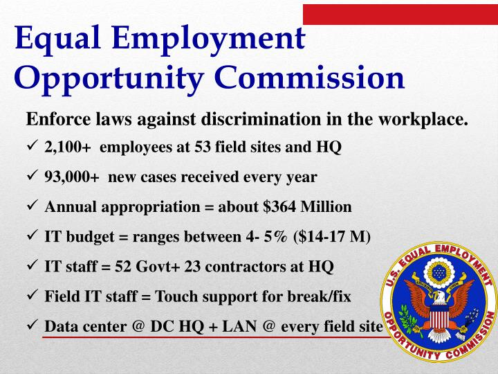 a discussion on the equality of employment opportunity in the workplace Equal employment opportunity commission consolidated detailed discussion can be found in the bility to bring justice and equal opportunity to the workplace.