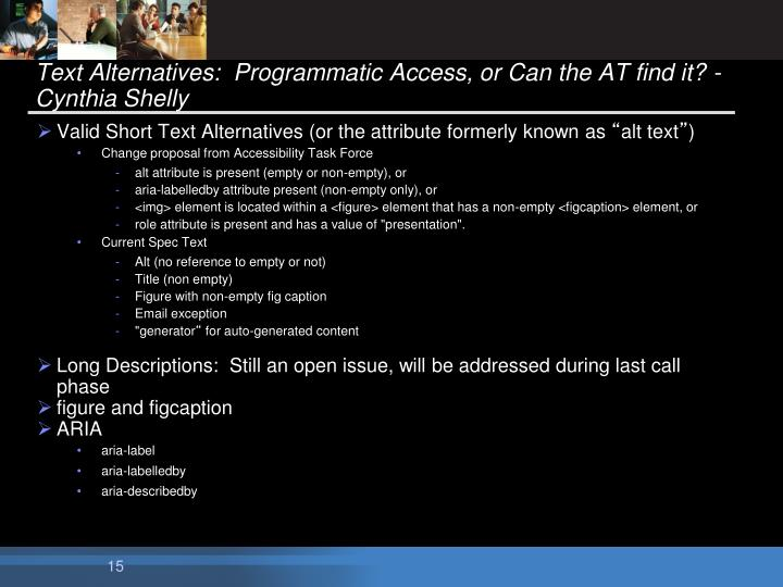 Text Alternatives:  Programmatic Access, or Can the AT find it? -