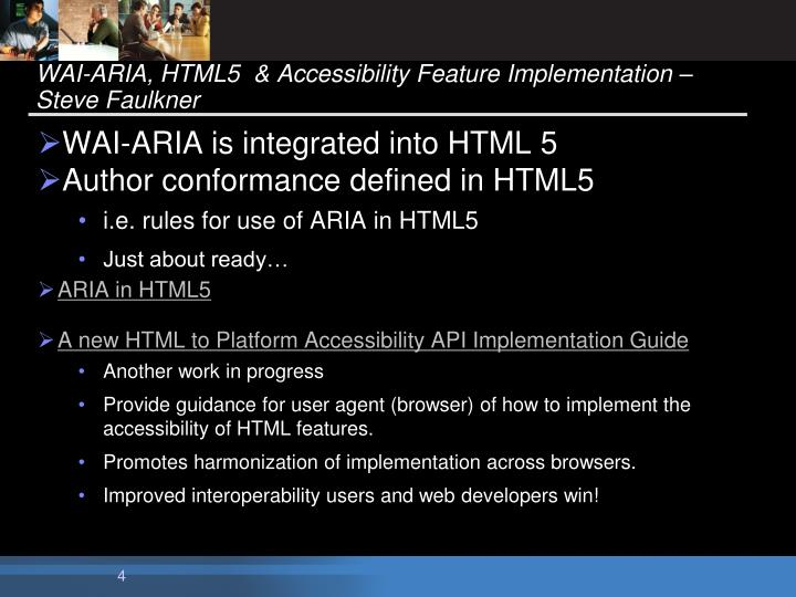 WAI-ARIA, HTML5  & Accessibility Feature Implementation – Steve Faulkner