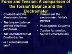 force and tension a comparison of the torsion balance and the electrometer