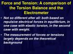 force and tension a comparison of the torsion balance and the electrometer1