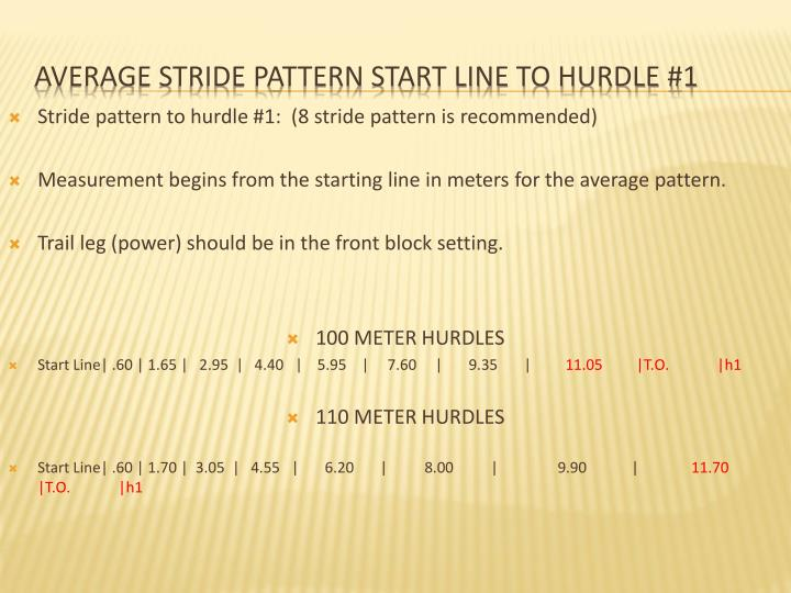 Stride pattern to hurdle #1:  (8 stride pattern is recommended)