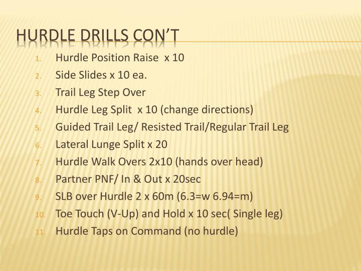Hurdle Position Raise  x 10