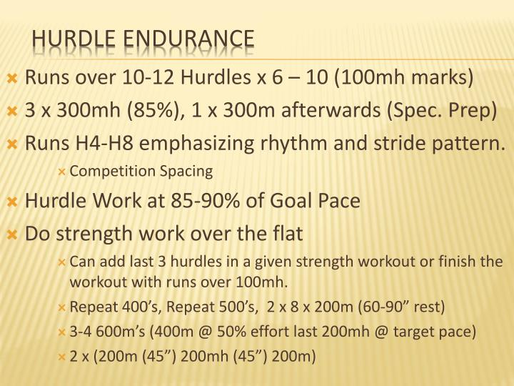 Runs over 10-12 Hurdles x 6 – 10 (100mh marks)