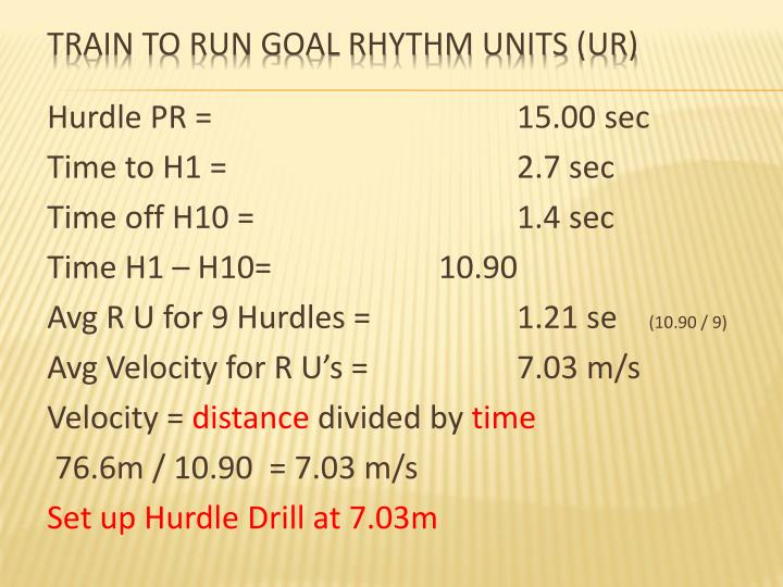 Hurdle PR = 15.00 sec