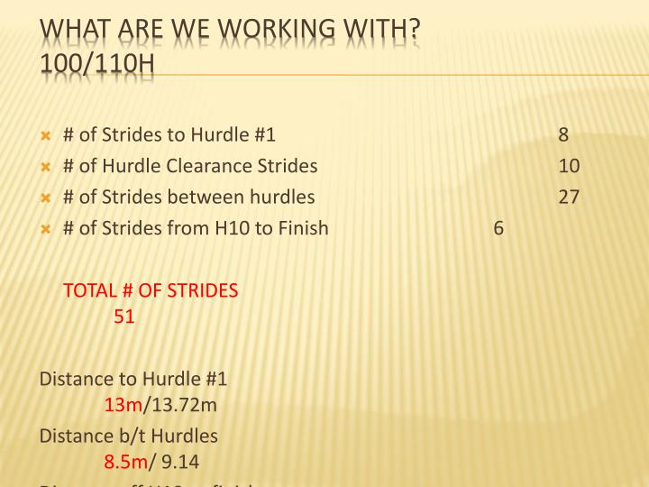 # of Strides to Hurdle #18