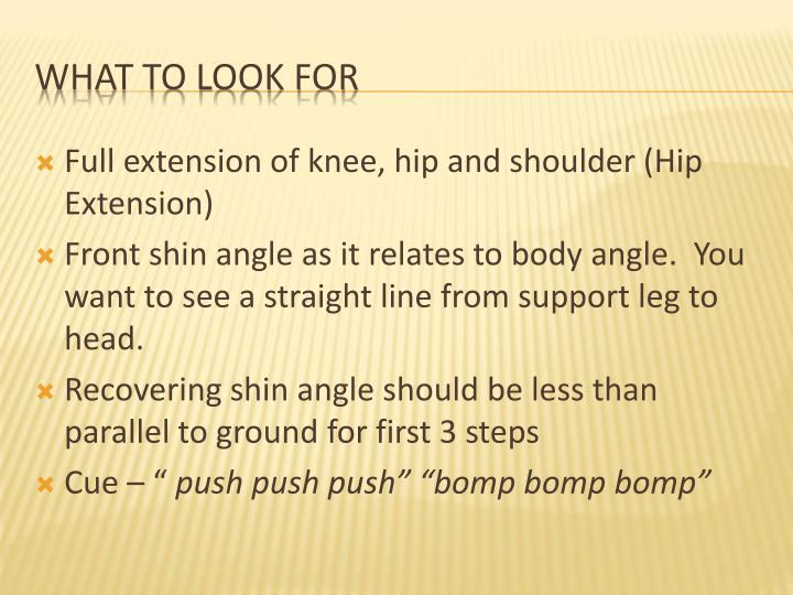 Full extension of knee, hip and shoulder (Hip Extension)