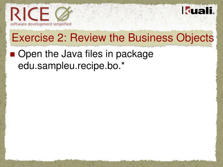 Exercise 2: Review the Business Objects