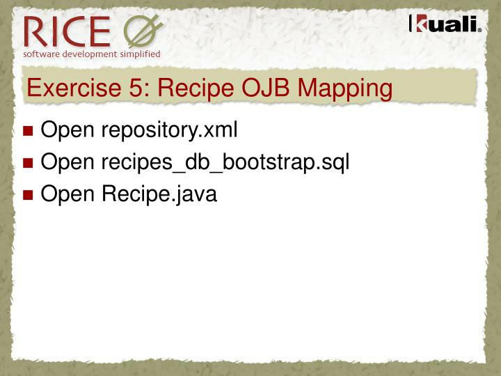 Exercise 5: Recipe OJB Mapping