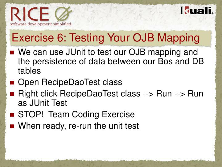 Exercise 6: Testing Your OJB Mapping