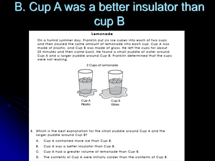 B. Cup A was a better insulator than cup B