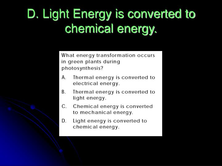 D. Light Energy is converted to chemical energy.