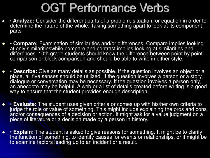 Ogt performance verbs