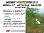 component 4 synthesizing experience dissemination 2