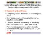 orientations of component 2 agriculture sustainable management of forest 2