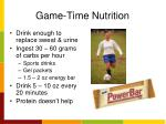 game time nutrition