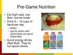 pre game nutrition