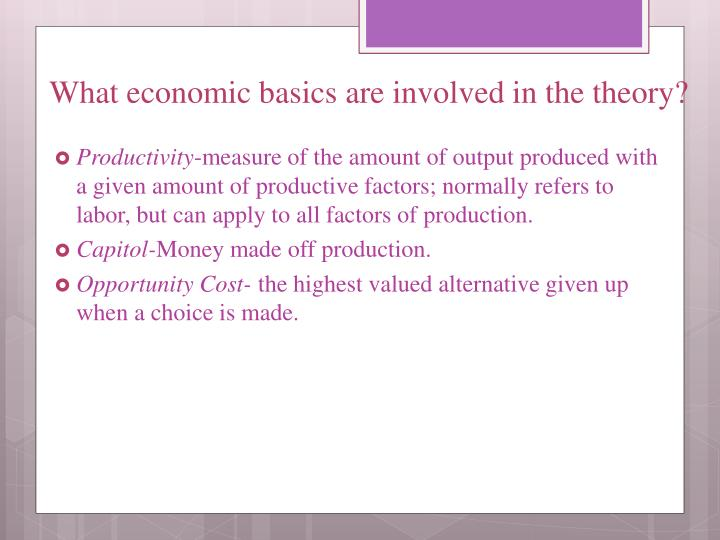 What economic basics are involved in the theory?