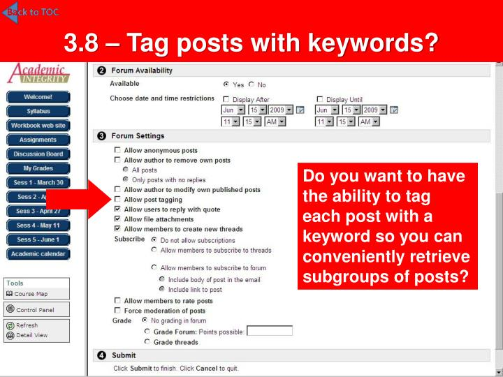3.8 – Tag posts with keywords?