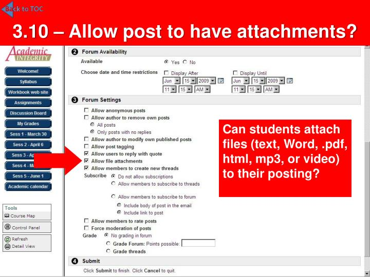 3.10 – Allow post to have attachments?