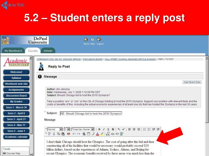 5.2 – Student enters a reply post