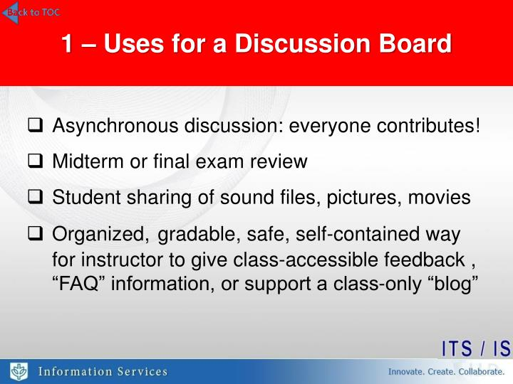 1 – Uses for a Discussion Board