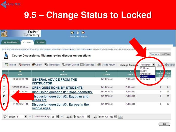 9.5 – Change Status to Locked