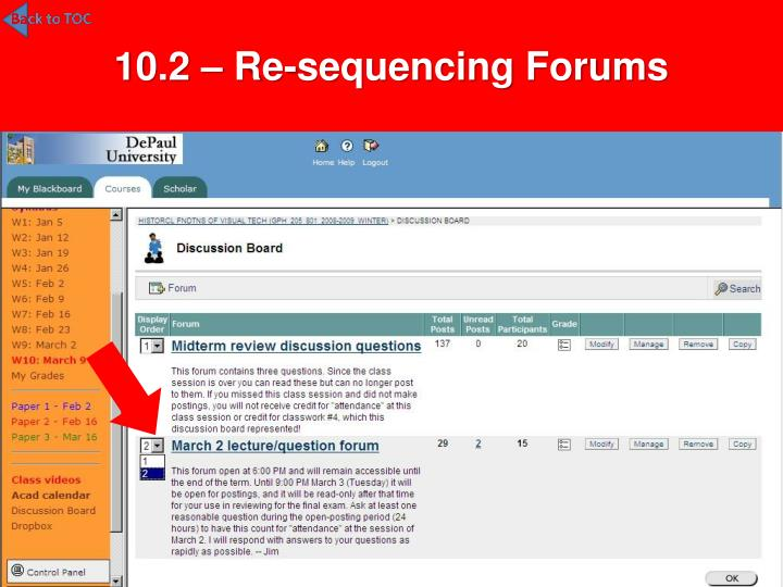 10.2 – Re-sequencing Forums
