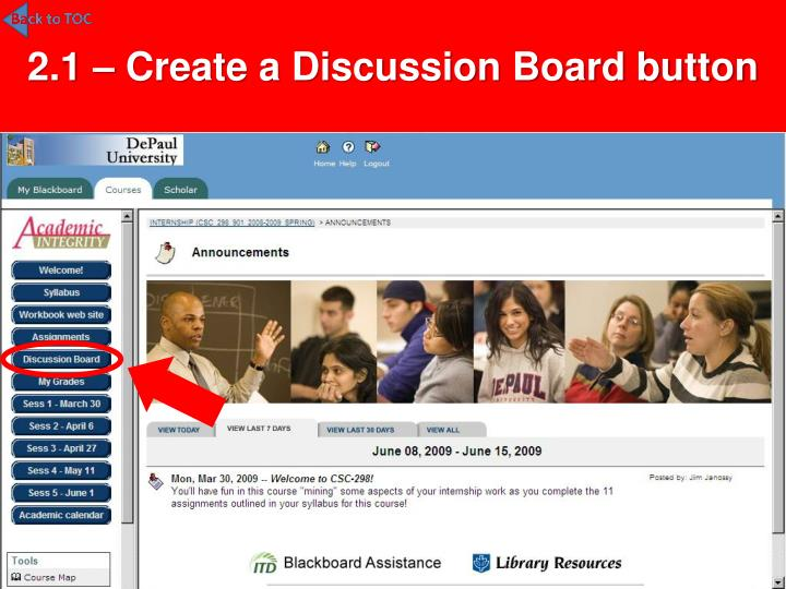 2.1 – Create a Discussion Board button