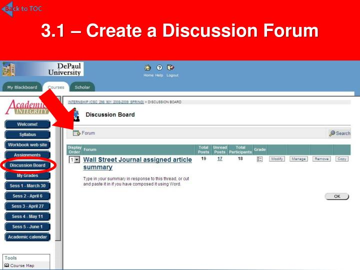 3.1 – Create a Discussion Forum